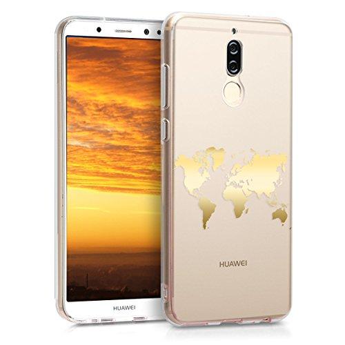 kwmobile Hülle kompatibel mit Huawei Mate 10 Lite - Hülle Handy - Handyhülle Travel Umriss Gold Transparent