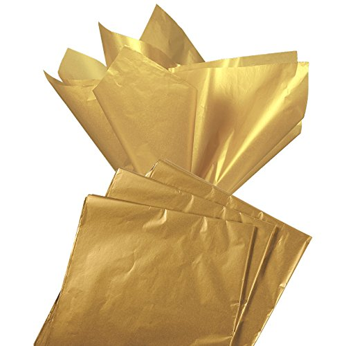 Gift Wrapping Tissue Paper - 60 Sheet Antique Gold Metallic Gift Wraps Color Tissue Papers Pack - Perfect for Gift Bags, DIY Crafts, Christmas, Holidays, Birthdays, 19.7 x 26 in.