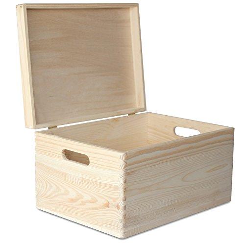 Creative Deco XXL Große Holz-Kiste mit Deckel Erinnerungsbox | 40 x 30 x 24 cm | Holzbox Aufbewahrungsbox Spielzeugkiste Unlackiert Kasten | mit Griffen | Ideal für Wertsachen Spielzeuge und Werkzeuge