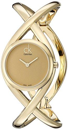 Calvin Klein K2L23509 - Reloj analógico de mujer de cuarzo con correa de acero inoxidable dorada
