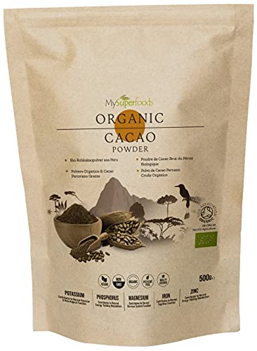 Cacao in Polvere Biologico (500g), MySuperfoods, Delizioso e Ottimo per Te, Ricco di Micronutrienti, Certificato Biologico, Antico Alimento Sano