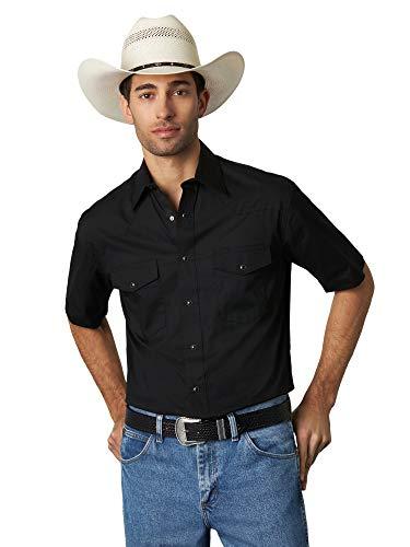 Wrangler Men's Short Sleeve Sport Western Snap Shirt, Black, Large