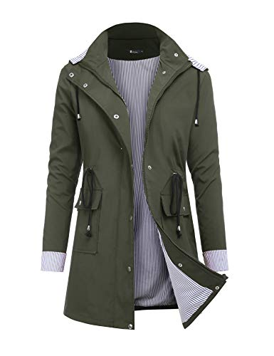 RAGEMALL Women's Raincoats Windbreaker Rain Jacket Waterproof Lightweight Outdoor Hooded Trench Coats Army Green s