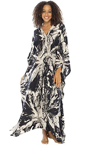 Back From Bali Womens Beach Kaftan Summer Maxi Dress Swimsuit Bathing Suit Cover Up Boho White Black Abstract Tie Dye Caftan Rayon