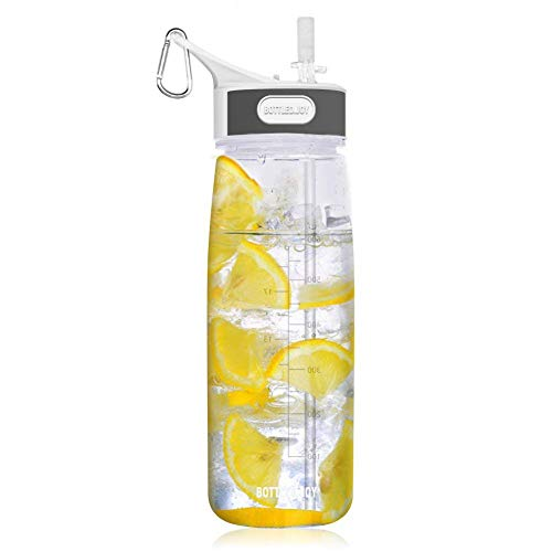 Sports Water Bottle with Straw&Handle,Hoofun BPA-Free Clear Water Container Leakproof Wide Mouth Drinking Water Bottle 27oz 800ml High Capacity for Running, Excerise, Hiking, Cycling (Clear)