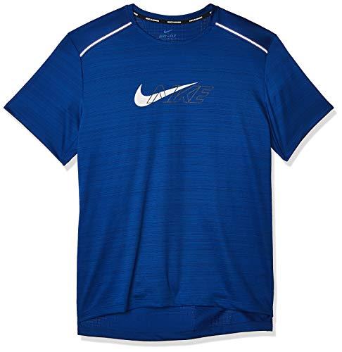 Nike Herren Df Miler Short sleeve Flash Nv T-shirt, Blau, L