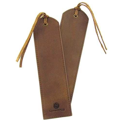 Leather Bookmark Handmade - Pack of 2 Genuine Leather Book Marks - Perfect Bookmarks for Men Women and Kids | Great Idea for Leather Gifts for Bookworms Writers Relatives and Friends