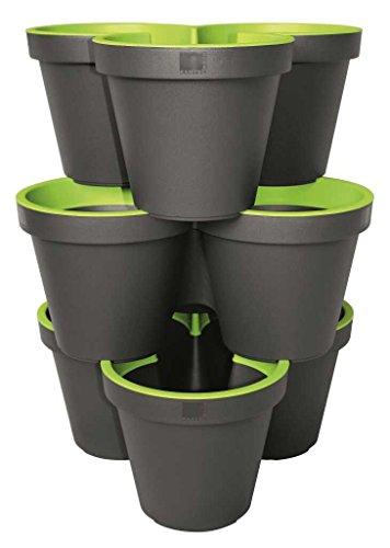 geli Thermo Plastic 3er Set E&K Pflanztopf Säulentopf Stapelbar aus Kunststoff, Farbe:anthrazit/maigrün