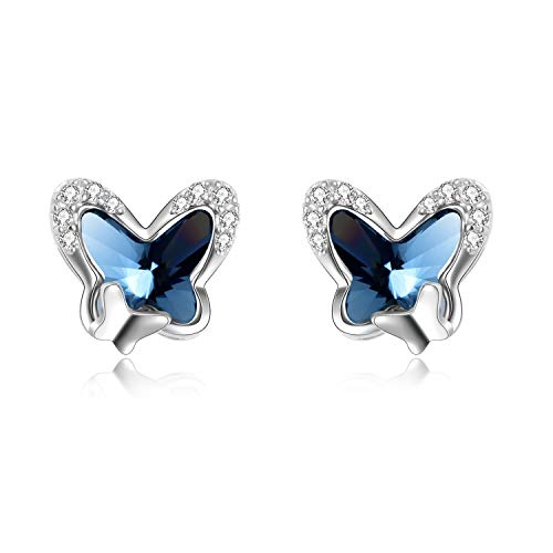 Sterling Silver Butterfly Stud Earrings with Crystals from Swarovski, Butterfly Jewellery Birthday Gifts for Women Girls Her Daughter (Blue)