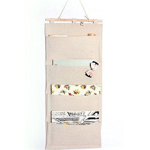 """Lino / algodón Tela puerta de la pared del armario colgante del almacenaje del bolso Libros Volver a la Oficina de la Escuela de Organización Dormitorio Cocina rectángulo 4 bolsillos del organizador del hogar del regalo, 13.8""""W x 31.5""""H (4 Bolsillos- Beige)"""
