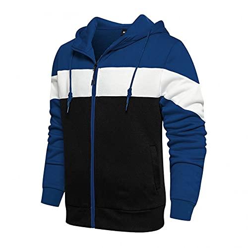 Hooded Sweatshirt Felpa con Cappuccio Uomo Zip Autunno Slim Casual Patchwork Manica Lunga Camicetta Top (XL,1blu)