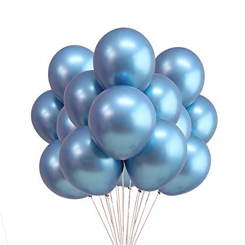 Chrome Blue Balloons, 12' Metallic Shiny Latex for Party Decoration Birthday Wedding Baby Shower Graduation Christmas Halloween - 50 Pcs