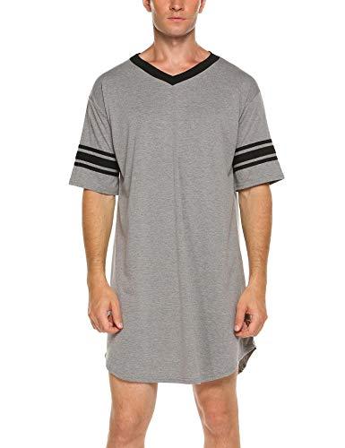 ADOME Nachthemd Herren Kurzarm Nachtwäsche Herrennachthemd Knielang Pyjama Schlafkleid Sommer Männer
