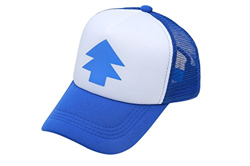 Kappe, Design: Dipper / Gravity Falls, mit gebogenem Schirm, blau, Kieferbaum-Motiv, Baseballmütze