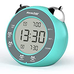 REACHER Digital Dual Alarm Clock with Weekday/Weekend Mode, Twin Bell, Touch-Activated Snooze, Backlight, 12H/24H Display , Easy to Operate, Battery Operated Small Clock for Kids (Mint Green)