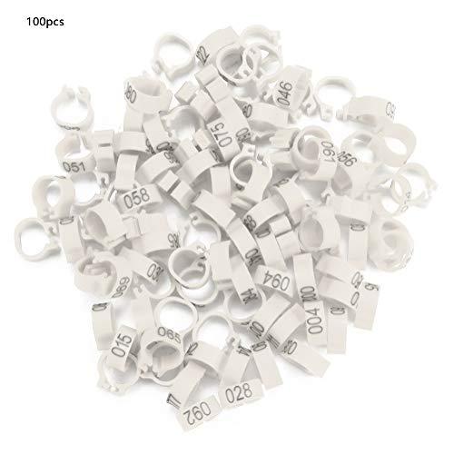 iFCOW duif been ringen, 100 stuks 8MM 001-100 genummerd plastic brief duif vogel been banden ringen, Kleur: wit