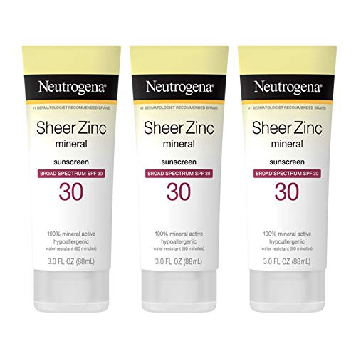 Neutrogena Sheer Zinc Oxide Dry-Touch Sunscreen Lotion with Broad Spectrum SPF 30 UVA/UVB Protection, Water-Resistant, Hypoallergenic & Non-Greasy Mineral Sunscreen, Paraben-Free, 3 fl. oz (Pack of 3)