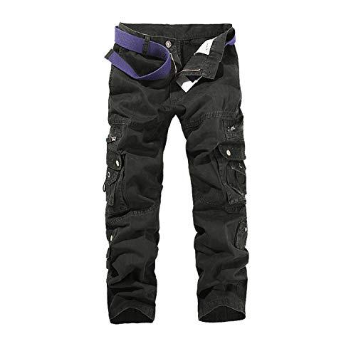 Hommes Pantalon Cargo Pantalon de Travail Style Militaire, Casual Pantalon Multi Poche Cargo Sports De Combat Pantalons en Coton Home, Noir, 46 (Tag size 36)