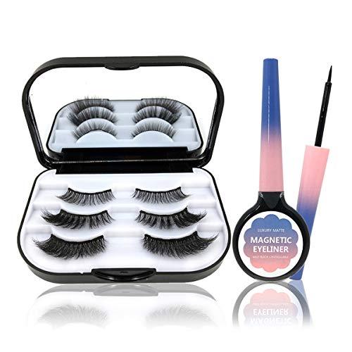 ZRSZ Magnetic Eyelashes Eyeliner Set 3D Faux Cils Magnétiques Et Eyeliner Imperméable Réutilisable (3 Paires)
