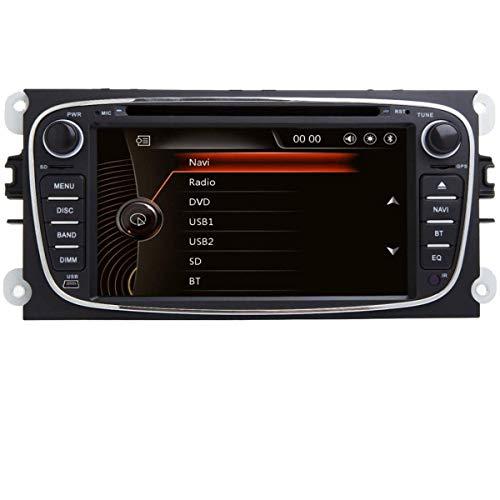 Autoradio 7 Pulgadas 2 DIN GPS Radio Automóvil Dab para Ford Focus Mondeo C-MAX S-MAX Galaxy Kuga para Coche GPS CD Reproductor de DVD Bluetooth USB SD RDS Cámara Canbus Pantalla Táctil