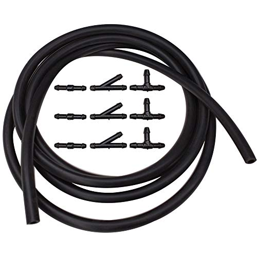 BUENNUS Windshield Washer Hose Connector Kit 78.8inch/2m Car Windshield Wiper Fluid Hose with 9 pieces Black I T Y Splitter Connectors for Windshield Washer Wiper Nozzles Connection Tubing kit