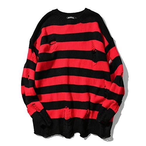 YANGPP Schwarz Rot Gestreifte Loch Strickpullover Herbst Winter Pullover Lose Lange Absatz Übergroße Männer Frauen Allgleiches Kleidung, A6003 Streifen, M