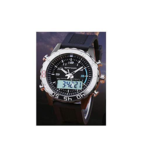 ZSDGY Haojin DREI-Nadel Herrenuhr, Sport Wasserdichte Persönlichkeit Trend Uhr, Mode Uhr Dual Display Leuchtende Elektronische Uhr,C
