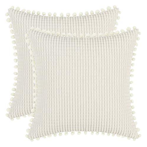 DEZENE 40x40cm Dekorative Kissenbezüge mit Pompons - Cremeweiß 2er Pack Quadrat Cord Gestreifte Big Corn Kernels Kissenbezüge für Farmhouse Couch Sofa