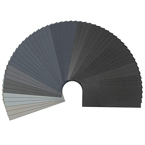 51PCS Dry and Wet Sandpaper,120 to 7000 Grit,9x3.6 Inches,Wood and Metal Polishing,BLTKG (51PC)