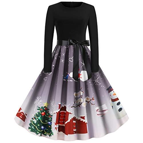 URIBAKT Frauen Weihnachten Kleid Vintage Langarm Damen Christmas Retro Schöne Schwingen Kleid 50er Jahre Hausfrau Abend Party Abendkleid Cocktailkleid Rockabilly