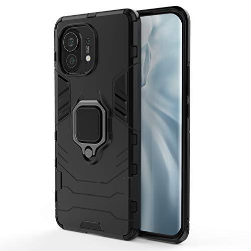 GOGME Funda para Xiaomi Mi 11, Shockproof Carcasa con 360 Grados Giratorio Anillo Kickstand y Soporte de Coche Magnético, Hard PC y Silicona TPU Tough Armor Case Cover. Negro