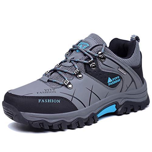 Koyike Zapatos de Trekking Hombres,Antideslizante Botas de montaña,Ligero Calzado al Aire Libre,Resistente al Desgaste Zapato de Senderismo para Deportes de Viaje de Escalada,Blue-39