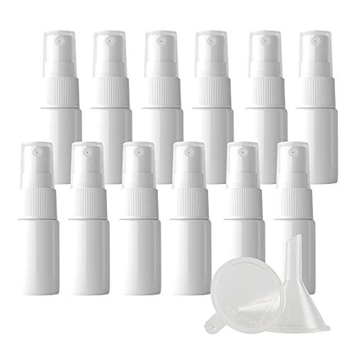 ZEOABSY 96Piezas 10ml Botella de Spray Vacía Plástico Blanco Atomizador de ViajeConjunto de Botellas, con Pulverizador de Niebla Fina Negro para Aromaterapiacon 4 Embudos