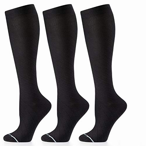 Cambivo Compression Socks for Women, 1 or 3 Pairs Knee High Cotton Dress Compression Socks 20 30mmhg, Fit for Nurses, Travel, Flying, Running, Pregnancy & Daily Wear