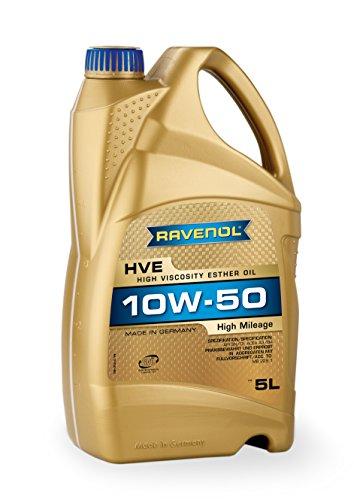 RAVENOL HVE SAE 10W-50 / 10W50 Vollsynthetisches Motoröl für hohe Laufleistung ab 100.000 km (5 Liter)