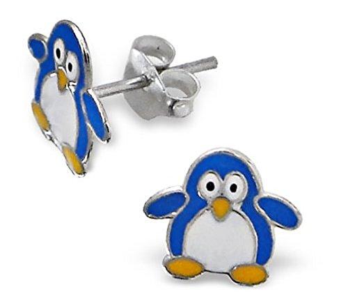 Orecchini in argento Sterling a forma di pinguino blu