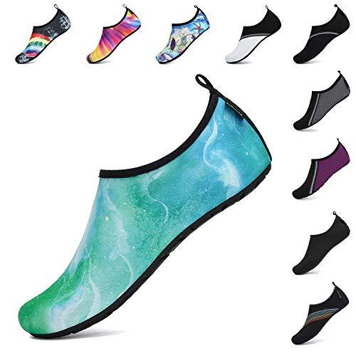 SAGUARO Unisex Zapatos de Agua de Verano Zapatos Descalzos de Natación para Hombres Mujers Calcetines de Aqua de Secado Rápido Yoga Mármol Verde 42/43 EU