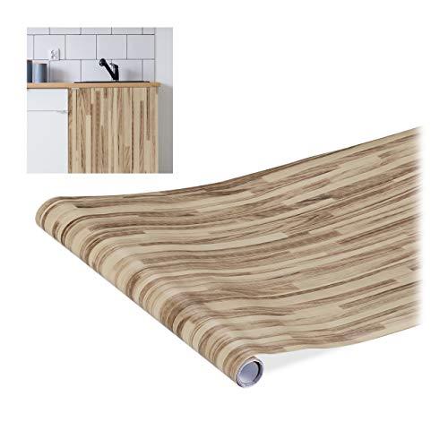 Relaxdays Klebefolie, für DIYs, Renovierungen, Möbel & Küche, Dekofolie selbstklebend, Holzoptik, PVC, 45x200 cm, braun