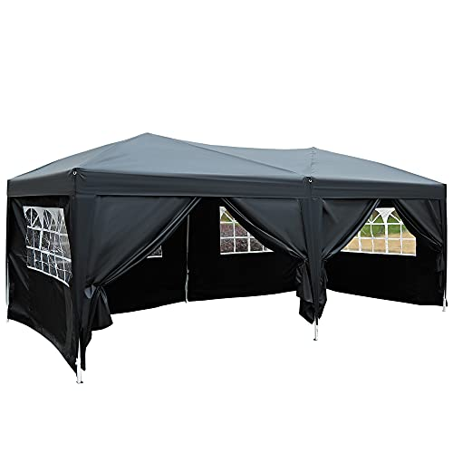 Outsunny 3 x 6m Garden Pop Up Gazebo Marquee Party Tent Wedding Water Resistant Awning Canopy With free Storage Bag Black