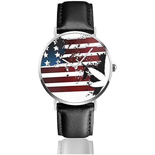 Reloj de Marihuana con Bandera Americana para Hombres Reloj de Cuero de PU para Hombre Reloj de Pulsera Casual Delgado