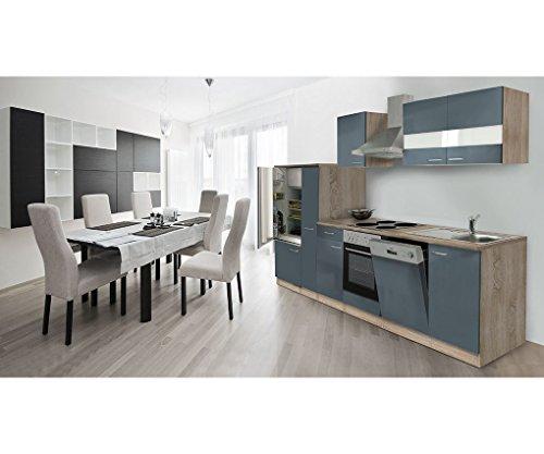 respekta Küche Küchenzeile Küchenleerblock Leerblock 310cm Eiche Sonoma Sägerau Front Grau