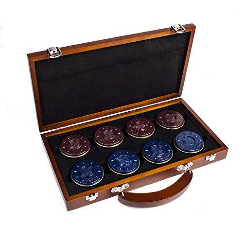IdealEnjoy Shuffleboard Pucks 58 mm, Rot/Blau, 8 Stück
