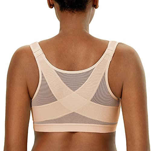 DELIMIRA Women's Front Closure Posture Wireless Back Support Full Coverage Bra Oatmeal Heather 36C