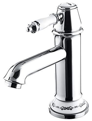 Serie SINA Retro Bad Waschbecken Waschtisch Einhebel Armatur Wasserhahn Chrom Sanlingo Keramikgriff