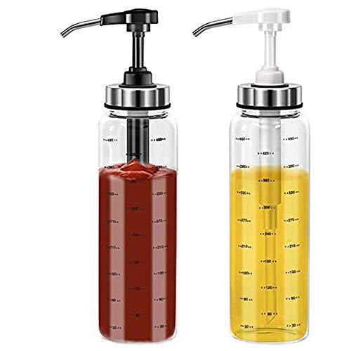 Alkee - Botellas para exprimir salsa para cocina y barbacoa, paquete de 2 botellas de cristal para dispensador de aceite de oliva, para ketchup, ensalada, vinagrera y miel, 500 ml