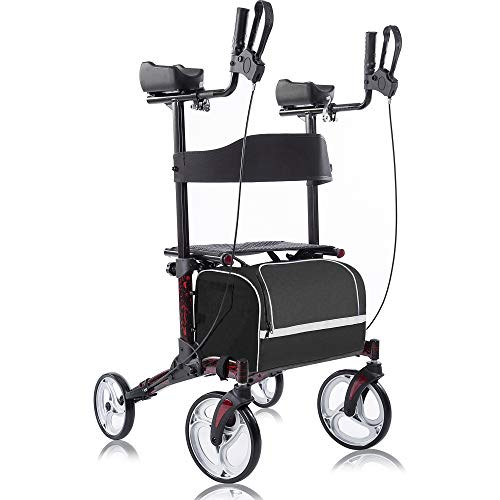 """BEYOUR WALKER Upright Walker, Stand Up Rollator Walker Tall Rolling Mobility Walking Aid with 10"""" Front Wheels, Seat and Armrest for Seniors and Adults, Flame Red"""