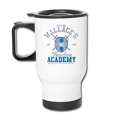 Braveheart William Wallace Freedom Academy 16 oz Vaso de acero inoxidable de doble pared con tapa a prueba de salpicaduras para bebidas frías y calientes