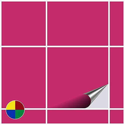 FoLIESEN Fliesenaufkleber für Bad und Küche - 15x15 cm - pink glänzend - 50 Fliesensticker für Wandfliesen