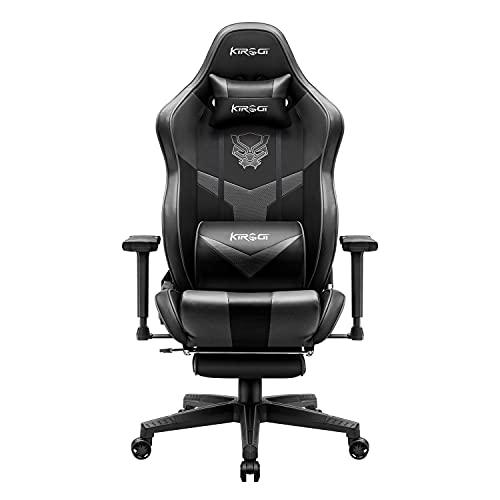Kirogi Gaming Stuhl, Gaming Sessel mit Fußstütze, Ergonomischer schreibtischstuhl, Verstellbarer PC Gamer Stuhl, großer und hoher Bürostuhl Kohlefaser Leder. Grau