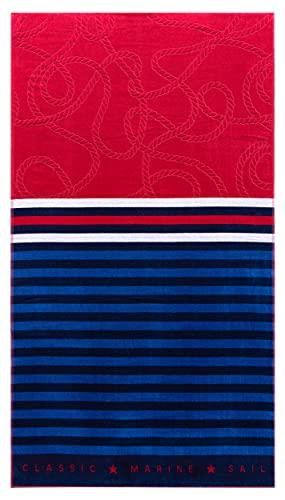 Lashuma Toalla de playa Nizza grande 100 x 180 cm, de terciopelo, color azul y rojo